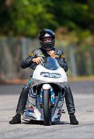May 4, 2019; Commerce, GA, USA; NHRA pro stock motorcycle rider Jerry Savoie during qualifying for the Southern Nationals at Atlanta Dragway. Mandatory Credit: Mark J. Rebilas-USA TODAY Sports