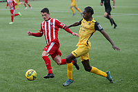 Jili Buyabu of Hornchurch and Danny Norton of Bowers during Bowers & Pitsea vs Hornchurch, Emirates FA Cup Football at The Len Salmon Stadium on 2nd October 2021