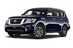 Stock pictures of low aggressive front three quarter view of a 2019 Nissan Armada SL 5 Door SUV