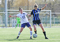 Laura Deloose (14) of Anderlecht pictured fighting for the ball with Marie Minnaert (13) of Club Brugge during a female soccer game between Club Brugge Dames YLA and RSC Anderlecht on the fourth matchday in Play-Off 1 of the 2020 - 2021 season of Belgian Scooore Womens Super League , saturday 1st May 2021  in Brugge , Belgium . PHOTO SPORTPIX.BE | SPP | DAVID CATRY