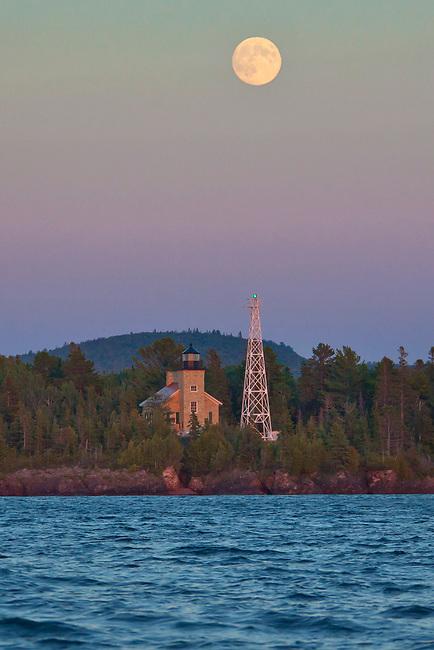 Copper Harbor Lighthouse, full moon portrait