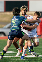 WASHINGTON, DC - FEBRUARY 16: Mat Turner #15 of the Seattle Seawolves tackles Mungo Mason #7 of Old Glory DC during a game between Seattle Seawolves and Old Glory DC at Cardinal Stadium on February 16, 2020 in Washington, DC.
