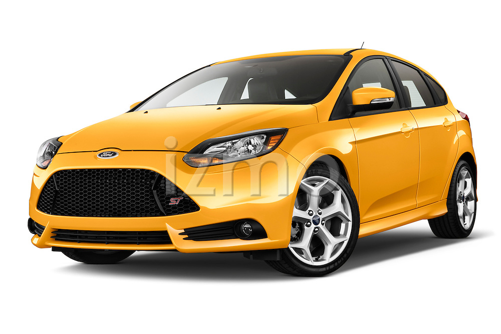 Low aggressive front three quarter view of a 2013 Ford Focus ST Stock Photo