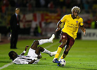 Fudbal, Champions league,Group H season 2010/2011.Partizan Vs. Arsenal.Pierre Boya, left and Alex Song, right.Beograd, 29.09.2010..foto: Srdjan Stevanovic/Starsportphoto ©