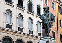 Monument to Italian playwright, Carlo Goldoni, Venice, Italy
