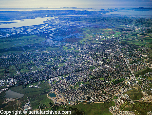 aerial photograph of an overview of Fairfield, Solano County toward San Francisco, California, 2002. For more recent imagery, please contact Aerial Archives.