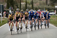 Team Jumbo-Visma laying down the pace fo rteh peloton<br /> <br /> Stage 2 from Camaiore to Chiusdino (202km)<br /> <br /> 56th Tirreno-Adriatico 2021 (2.UWT) <br /> <br /> ©kramon