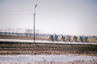 Ice pools in the fields underlining the freezing racing conditions<br /> <br /> break of the day <br /> <br /> 70th Kuurne-Brussel-Kuurne 2018<br /> Kuurne › Kuurne: 200km (BELGIUM)