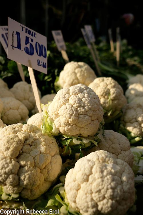 Cauliflowers for sale in a market, Turkey