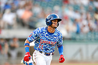 Tennessee Smokies center fielder Christopher Morel (11) hustles to first base against the Rocket City Trash Pandas at Smokies Stadium on July 2, 2021, in Kodak, Tennessee. (Danny Parker/Four Seam Images)