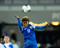 HOUSTON, TX - JANUARY 31: Roseline Eloissaint #11 of Haiti heads the ball during a game between Haiti and Costa Rica at BBVA Stadium on January 31, 2020 in Houston, Texas.