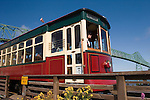 The Astoria Trolley runs along the Columbia River waterfront in Astoria, Oregon..#06062023