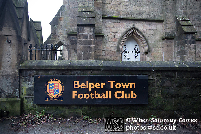 Belper Town v Gresley, 28/01/2014. Christchurch meadow, Northern Premier League. A sign advertising Belper Town stadium, pictured before their match against Gresley, in a Northern Premier League, first division south fixture at Christchurch meadow, Belper. The home side have played at their current ground since the club was reformed in 1951. Belper won this fixture against their local Derbyshire rivals by 4 goals to 1 watched by a crowd of 165 spectators. Photo by Colin McPherson.