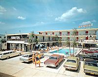 Kona Kai Motel, Wildwood, NJ - Family in front of the motel.