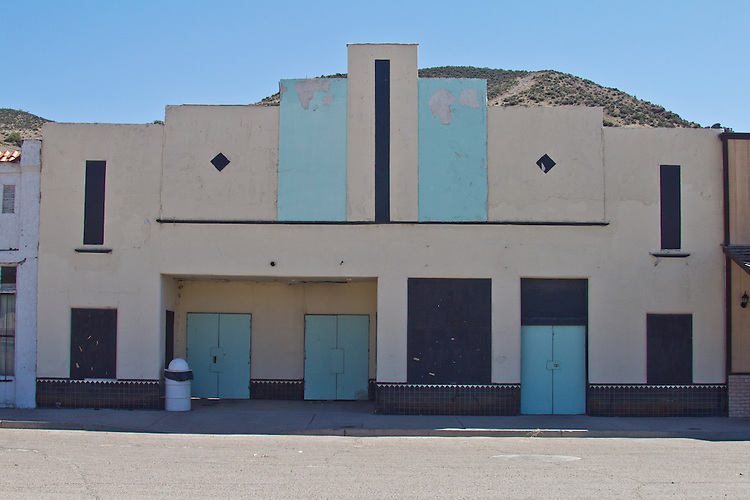 Caliente, Nevada, State Route 93, Old railroad town, closed theater, America's disappearing small towns, railroad crossing,
