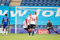 Conor McAleny of Oldham slots home a penalty to reduce the arrears during Colchester United vs Oldham Athletic, Sky Bet EFL League 2 Football at the JobServe Community Stadium on 3rd October 2020