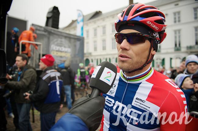 Norwegian National Champion Thor Hushovd (NOR) i terviewed before the start<br /> <br /> Omloop Het Nieuwsblad 2014