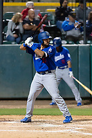 Rancho Cucamonga Quakes catcher Steve Berman (29) during a California League game against the Visalia Rawhide on April 9, 2019 in Visalia, California. Visalia defeated Rancho Cucamonga 8-5. (Zachary Lucy/Four Seam Images)
