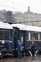 Europe/République Tchèque/Prague:A la gare ,l'Orient-Express Train de Luxe qui assure la liaison Calais,Paris , Prague,Venise [Non destiné à un usage publicitaire - Not intended for an advertising use]