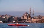 Istanbul, Turkey, Sea Kayaking, Golden Horn, Galata Bridge, woman, sunrise paddle,