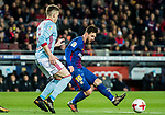 Lionel Andres Messi of FC Barcelona competes for the ball with Andreu Fontas Prat of RC Celta de Vigo during the Copa Del Rey 2017-18 Round of 16 (2nd leg) match between FC Barcelona and RC Celta de Vigo at Camp Nou on 11 January 2018 in Barcelona, Spain. Photo by Vicens Gimenez / Power Sport Images