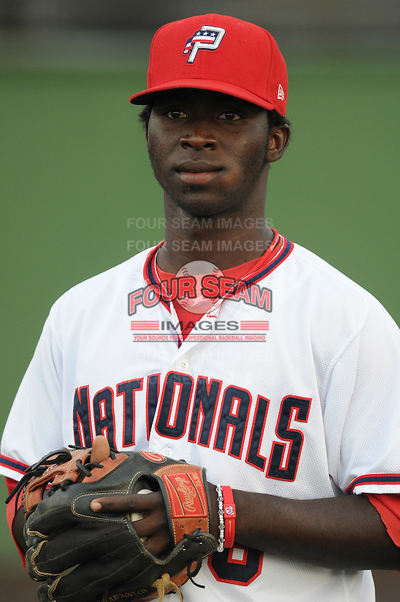 Infielder Justino Cuevas (8) of the Potomac Nationals, Carolina League affiliate of the Washington Nationals, prior to a game against the Salem Red Sox on June 16, 2011, at Pfitzner Stadium in Woodbridge, Va. Photo by Tom Priddy / Four Seam Images