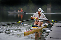 Francois Hevin of Fayetteville settles in Saturday, Sept. 12, 2020, before setting out onto Lake Fayetteville in a single scull for a row on a cool morning. The Rowing Club of Northwest Arkansas continues rowing single shells only at the lake in its weekly open rowing sessions and has put in place requirements for safety for its members during the coronavirus pandemic. Visit nwaonline.com/200913Daily/ for today's photo gallery. <br /> (NWA Democrat-Gazette/Andy Shupe)