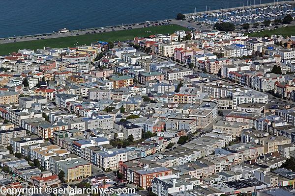 aerial photograph of the Marina district, Fillmore Street, Divisadero, and the Marina green, San Francisco, California