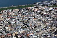 aerial photograph of the Marina district, Fillmore Street, Divisadero, and the Marina green, San Francisco, California