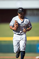 Peoria Javelinas left fielder Trent Grisham (2), of the Milwaukee Brewers organization, jogs off the field betokening innings of an Arizona Fall League game against the Mesa Solar Sox at Sloan Park on November 6, 2018 in Mesa, Arizona. Mesa defeated Peoria 7-5 . (Zachary Lucy/Four Seam Images)