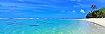 Beach on Rarotonga, Cook Islands.<br /> <br /> Image taken on large format panoramic 6cm x 17cm transparency. Available for licencing and printing. email us at contact@widescenes.com for pricing.