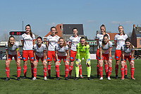 team of Zulte Waregem with Romy Camps (3) of Zulte-Waregem   Geena Lisa Buyle (13) of Zulte-Waregem   Summer Rogiers (8) of Zulte-Waregem   Lotte De Wilde (19) of Zulte-Waregem   Ella Vierendeels (4) of Zulte-Waregem   Pauline Windels (5) of Zulte-Waregem   Amber De Priester (6) of Zulte-Waregem   Julie Devos (21) of Zulte-Waregem   goalkeeper Ianthe Meerschaert (31) of Zulte-Waregem   Anne-Lore Scherrens (22) of Zulte-Waregem   Liesa Capiau (15) of Zulte-Waregem  pictured during a female soccer game between SV Zulte - Waregem and KRC Genk Ladies on the 2nd matchday in play off 2 of the 2020 - 2021 season of Belgian Scooore Womens Super League , saturday 17 th of April 2021  in Zulte , Belgium . PHOTO SPORTPIX.BE | SPP | DIRK VUYLSTEKE