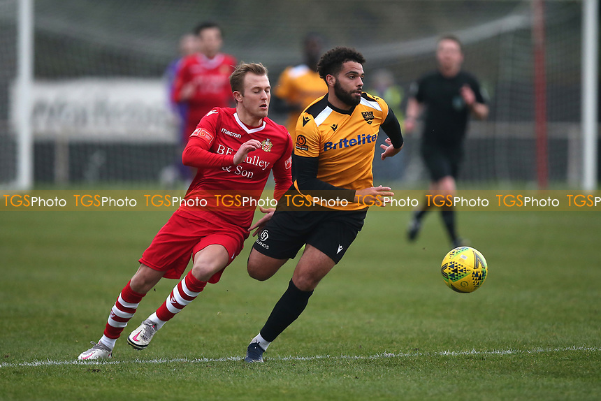 Liam Nash of Hornchurch and Noah Chesmain of Maidstone during Hornchurch vs Maidstone United, Buildbase FA Trophy Football at Hornchurch Stadium on 6th February 2021