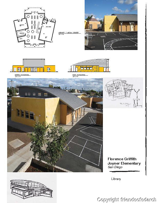 Florence Griffith Joyner Elementary School, San Diego (City Heights). Design board with sketches and elevations. Audrey Stratton, Architect.