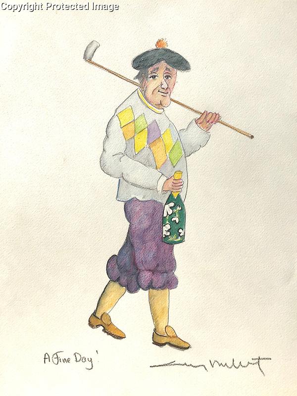 """""""A Fine Day!""""<br /> 11x14 ORIGINAL Watercolor on Paper<br /> $1,750"""