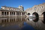 Great Britain, Bath and NE Somerset, Bath: Pulteney Bridge, built in 1774 by Robert Adam, with tour boat