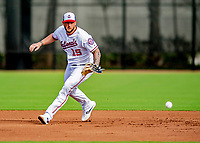 23 February 2019: Washington Nationals first baseman Matt Adams practices fielding grounders prior to a Spring Training game against the Houston Astros at the Ballpark of the Palm Beaches in West Palm Beach, Florida. The Nationals walked off with a 7-6 Opening Game win to start the Grapefruit League season. Mandatory Credit: Ed Wolfstein Photo *** RAW (NEF) Image File Available ***