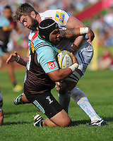 Mat Luamanu of Harlequins is tackled by Geoff Parling of Exeter Chiefs just short  of the line during the Aviva Premiership match between Harlequins and Exeter Chiefs at The Twickenham Stoop on Saturday 7th May 2016 (Photo: Rob Munro/Stewart Communications)