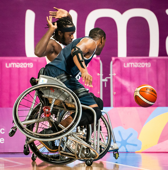 Blaise Mutware, Lima 2019 - Wheelchair Basketball // Basketball en fauteuil roulant.<br /> Men's wheelchair basketball takes on Colombia in the semifinal game // Le basketball en fauteuil roulant masculin affronte la Colombie en demi-finale. 30/08/2019.
