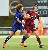 Anderlecht's midfielder Kassandra Missipo  (L) and Genk's forward Gwen Duijsters (R) pictured during a female soccer game between RSC Anderlecht Dames and KRC Genk Ladies  on the sixth matchday of the 2020 - 2021 season of Belgian Womens Super League , Sunday 8 th of November 2020  in Overijse , Belgium . PHOTO SPORTPIX.BE | SPP | DIRK VUYLSTEKE