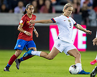 HOUSTON, TX - FEBRUARY 03: Lindsey Horan #9 of the USA advances the ball during a game between Costa Rica and USWNT at BBVA Stadium on February 03, 2020 in Houston, Texas.