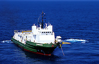 Seismic vessels map the Gulf of Mexico for offshore reserves of hydrocarbons. This vessel is outfitted for bottom-cable laying and retrieving. Gulf of Mexico.