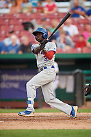South Bend Cubs right fielder Chris Singleton (3) follows through on a swing during a game against the Kane County Cougars on July 23, 2018 at Northwestern Medicine Field in Geneva, Illinois.  Kane County defeated South Bend 8-5.  (Mike Janes/Four Seam Images)