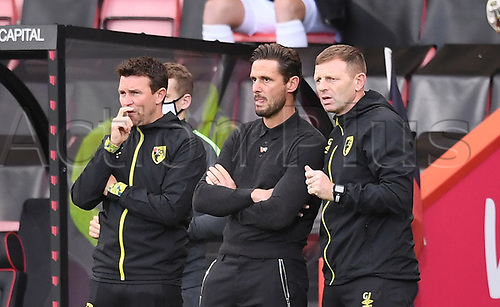 31st October 2020; Vitality Stadium, Bournemouth, Dorset, England; English Football League Championship Football, Bournemouth Athletic versus Derby County; Jason Tindall Manager of Bournemouth and his coaching team consider their options