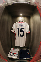GUADALAJARA, MEXICO - MARCH 24: The locker of Andres Perea #15 of the United States before a game between Mexico and USMNT U-23 at Estadio Jalisco on March 24, 2021 in Guadalajara, Mexico.