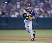 Omar Vizquel of the Cleveland Indians make a throw during a 2002 MLB season game against the Los Angeles Angels at Angel Stadium, in Los Angeles, California. (Larry Goren/Four Seam Images)