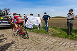 Jenthe BIERMANS from Belgium of Katusha-Alpecin at the 4 star cobblestone sector 17 from Hornaing to Wandignies during the 2018 Paris-Roubaix race, France, 8 April 2018, Photo by Thomas van Bracht / PelotonPhotos.com | All photos usage must carry mandatory copyright credit (Peloton Photos | Thomas van Bracht)
