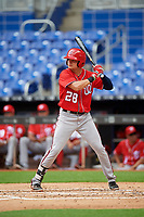 Washington Nationals Jacob Rhinesmith (28) at bat during a Florida Instructional League game against the Miami Marlins on September 26, 2018 at the Marlins Park in Miami, Florida.  (Mike Janes/Four Seam Images)