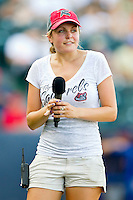 """Christine"" handles the between innings on field promotions for the Richmond Flying Squirrels during their game against the Harrisburg Senators in game one of a double-header at The Diamond on July 22, 2011 in Richmond, Virginia.  The Squirrels defeated the Senators 3-1.   (Brian Westerholt / Four Seam Images)"