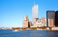 N.Y.: New York City--World Trade Center Towers from Ferry .  Photo 1985.